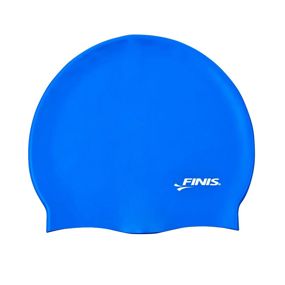 Neon blue latex swim cap